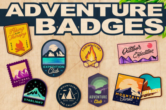 Adventure Badges Set Graphic Logos By Roman Paslavskiy