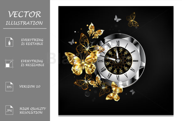 Antique Clock with Golden Butterflies Graphic Illustrations By Blackmoon9