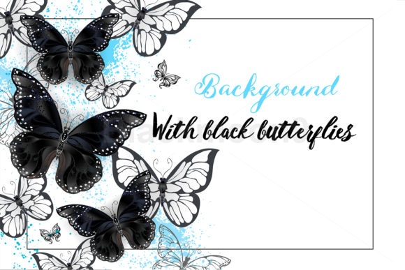 Background with Black Butterflies Graphic Illustrations By Blackmoon9