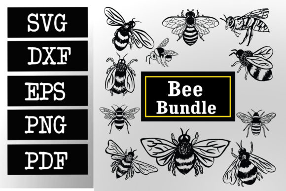 Print on Demand: Bee Bumblebee Bundle Graphic Print Templates By johanruartist