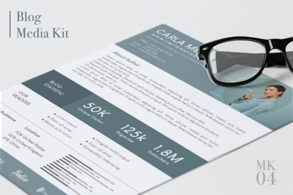 Blog Media Kit Template - 2 Page Graphic Print Templates By OtpirusThree