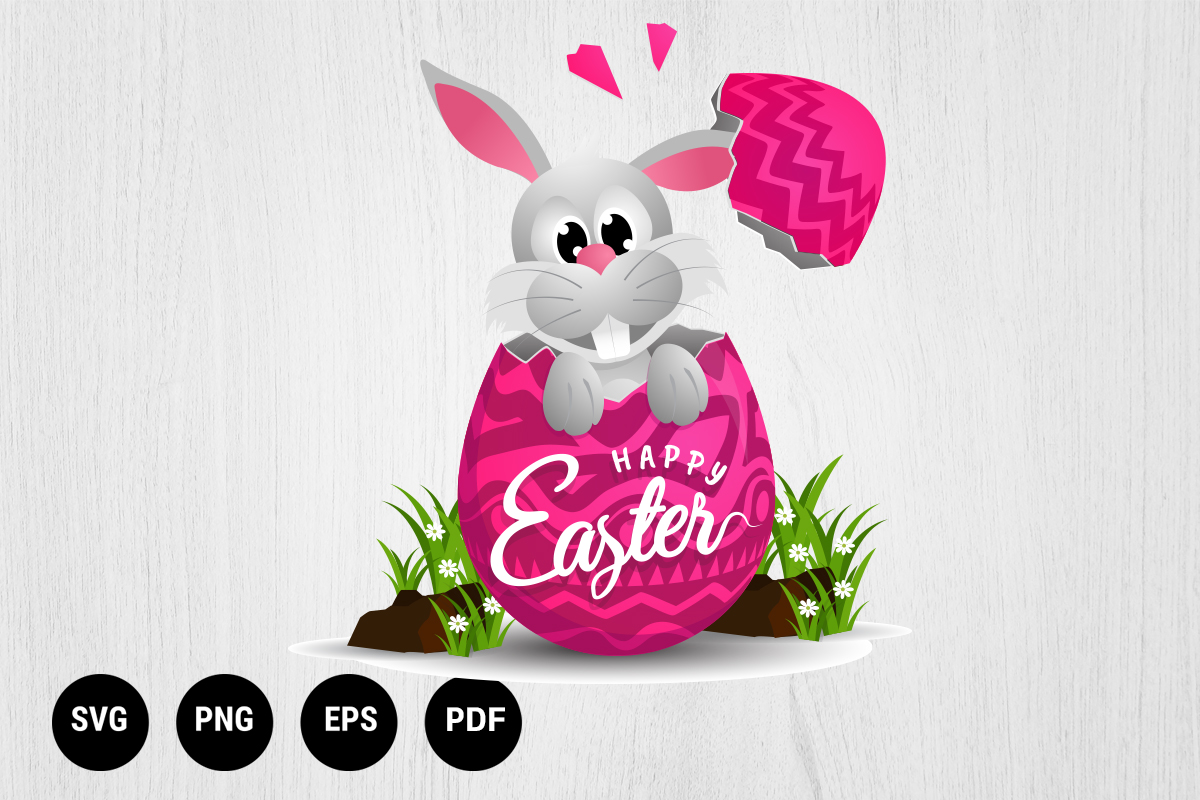 Download Free Bunny Easter Cartoon Character Graphic By 99 Siam Vector Creative Fabrica for Cricut Explore, Silhouette and other cutting machines.