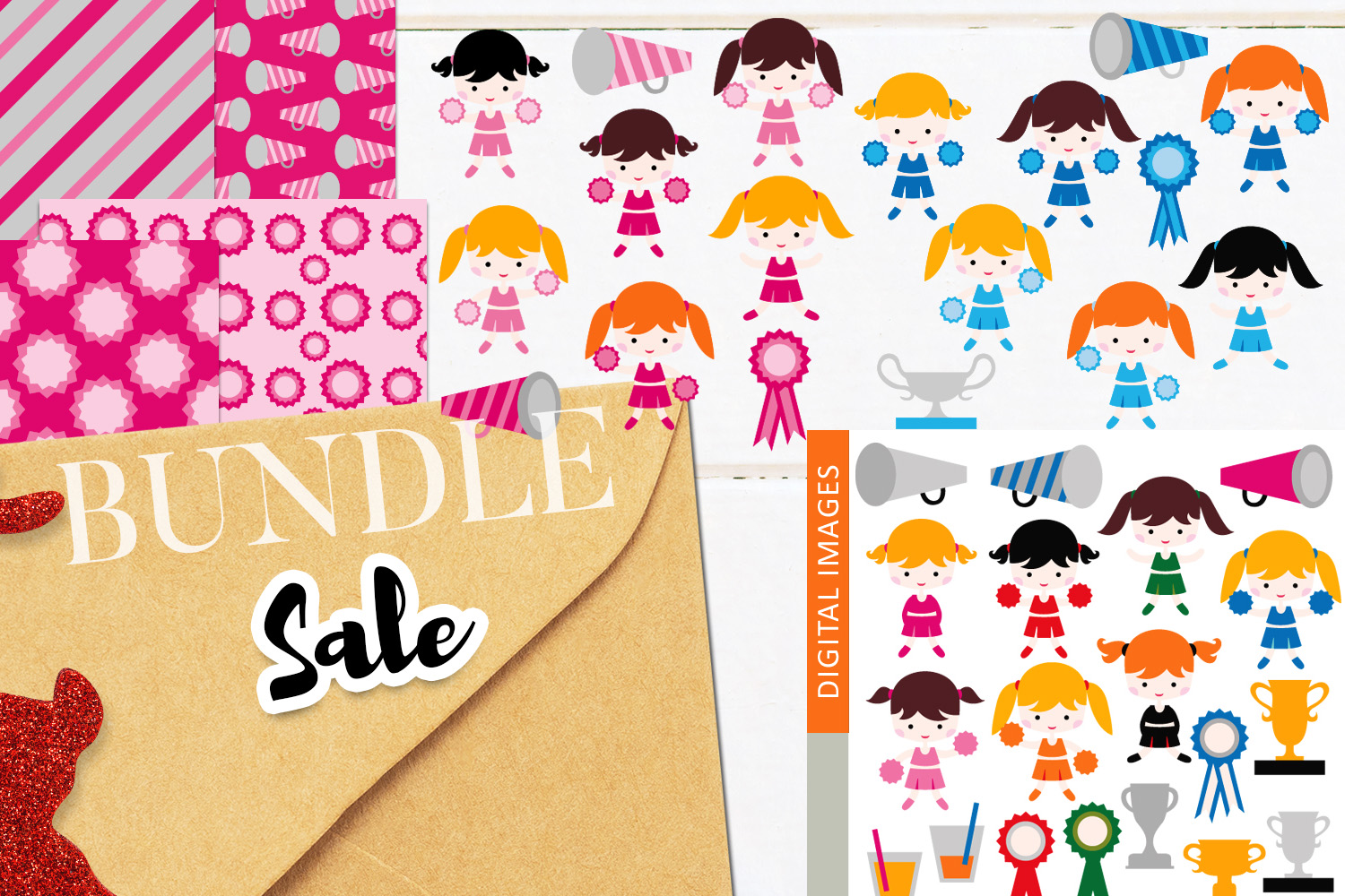 Download Free Cheerleaders Clip Art Bundle Graphic By Revidevi Creative Fabrica for Cricut Explore, Silhouette and other cutting machines.