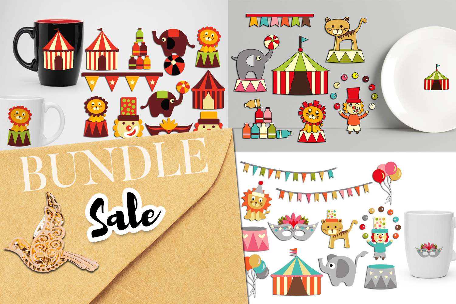 Download Free Circus Clip Art Bundle Graphic By Revidevi Creative Fabrica for Cricut Explore, Silhouette and other cutting machines.