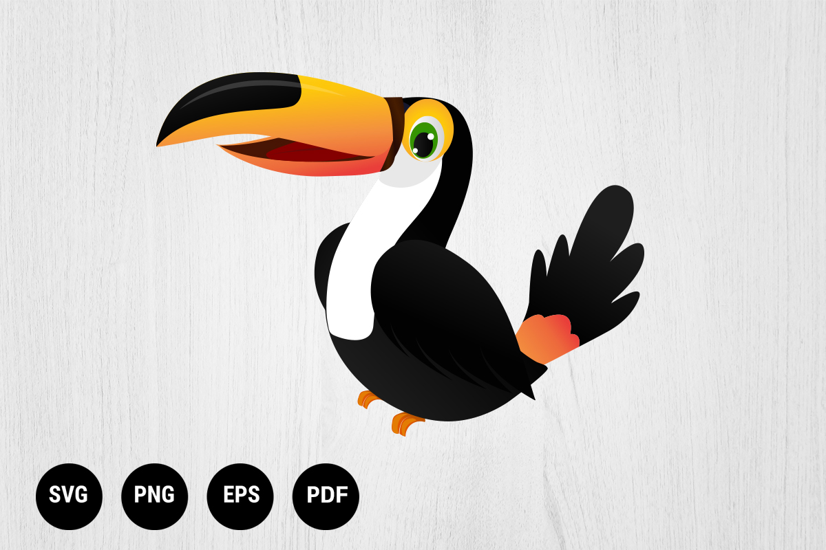 Download Free Cute Toucan Bird Cartoon Character Graphic By 99 Siam Vector for Cricut Explore, Silhouette and other cutting machines.
