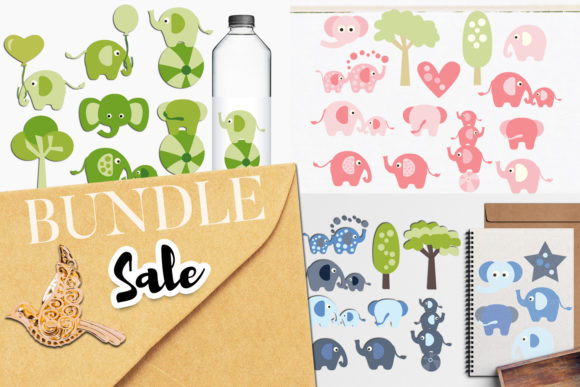 Print on Demand: Elephant Clip Art Bundle Graphic Illustrations By Revidevi