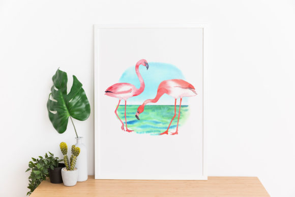 Download Free Flamingos And Flowers Watercolor Clipart Graphic By for Cricut Explore, Silhouette and other cutting machines.