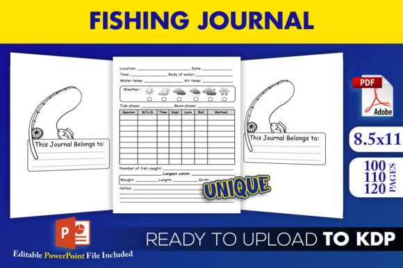 Fishing Journal Fish Record KDP Interior Graphic KDP Interiors By Beast Designer