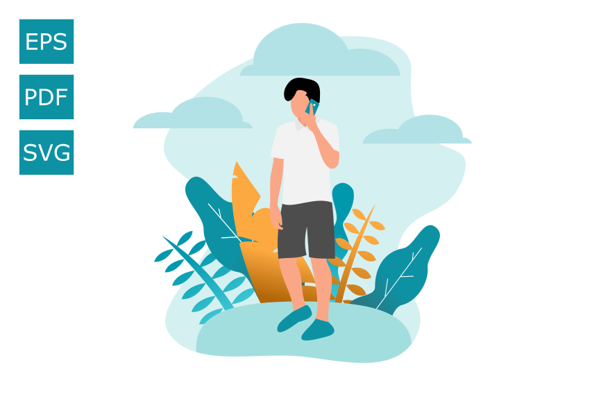 Download Free Flat Illustration Of Human On The Phone Graphic By Rohmatsidiq9 for Cricut Explore, Silhouette and other cutting machines.