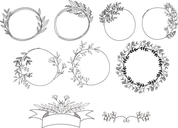 Download Free Floral Ribbon Banner No 8 Graphic By Nuk130 Studio Creative for Cricut Explore, Silhouette and other cutting machines.