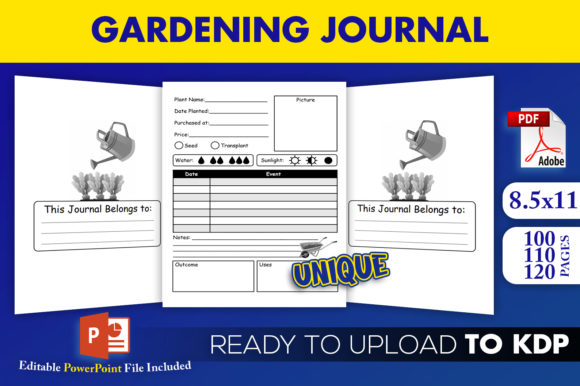 Download Free Garden Kdp Interior Gardening Journal Graphic By Beast Designer for Cricut Explore, Silhouette and other cutting machines.