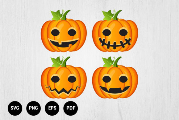 Print on Demand: Halloween Set with Pumpkins Graphic Print Templates By 99 Siam Vector