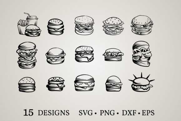 Download Free Hamburger Bundle Graphic By Euphoria Design Creative Fabrica for Cricut Explore, Silhouette and other cutting machines.