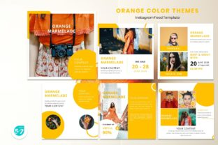 Instagram Feed Template - Orange Color Graphic Presentation Templates By 57creative