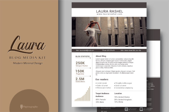 Laura - Blog Media Kit 3 Page Graphic Print Templates By OtpirusThree