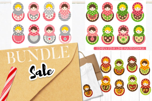 Download Free Matryoshka Dolls Bundle Graphic By Revidevi Creative Fabrica for Cricut Explore, Silhouette and other cutting machines.