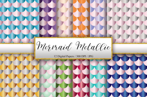 Mermaid Scales Metallic Background Graphic Backgrounds By PinkPearly