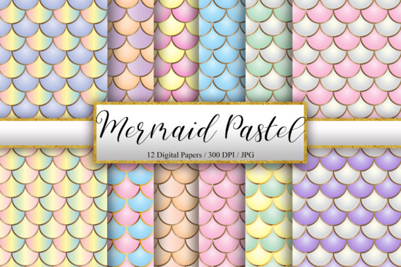 Mermaid Scales Pastel Background Graphic Backgrounds By PinkPearly