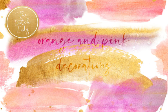 Print on Demand: Orange & Pink Watercolor Smear Clipart Graphic Crafts By daphnepopuliers