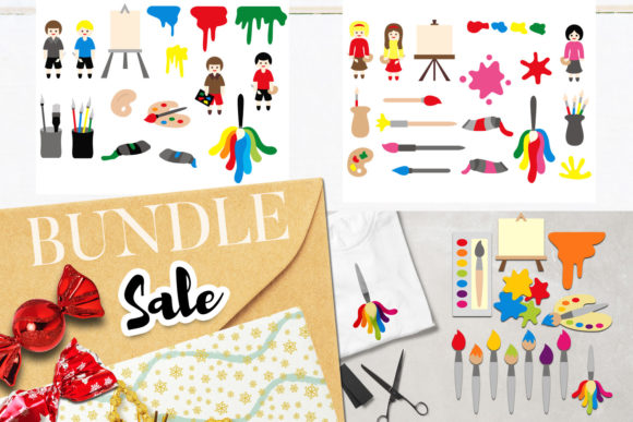 Download Free Painting Clip Art Bundle Graphic By Revidevi Creative Fabrica for Cricut Explore, Silhouette and other cutting machines.