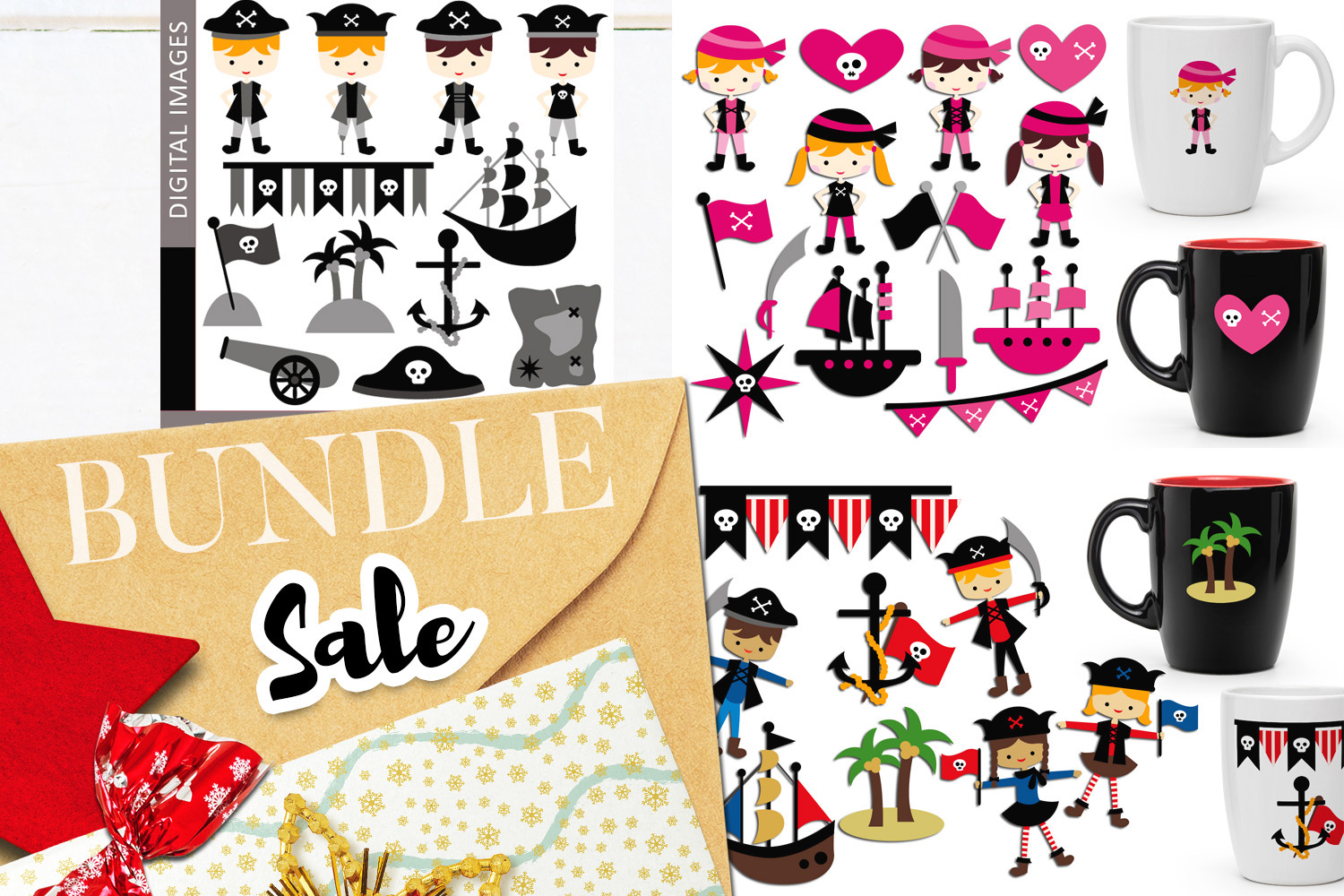 Download Free Pirate Clip Art Bundle Graphic By Revidevi Creative Fabrica for Cricut Explore, Silhouette and other cutting machines.