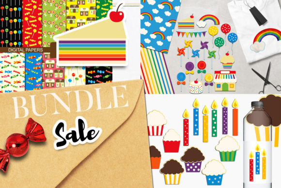 Download Free Rainbow Party Clip Art Bundle Graphic By Revidevi Creative Fabrica for Cricut Explore, Silhouette and other cutting machines.