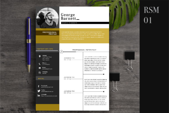 Resume Template 2 Page | CV Template Graphic Print Templates By OtpirusThree