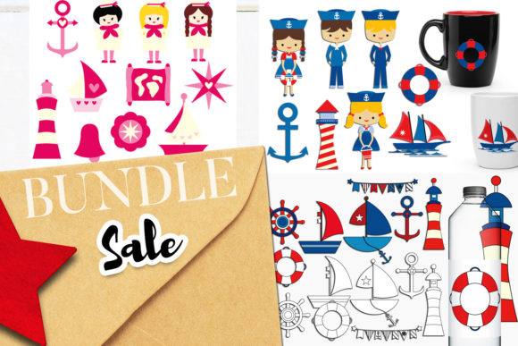 Print on Demand: Sailor Nautical Bundle Gráfico Ilustraciones Por Revidevi
