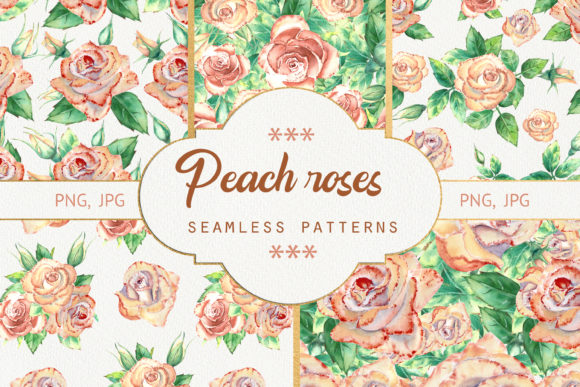 Download Free Seamless Patterns With Peach Roses Graphic By Natika Art for Cricut Explore, Silhouette and other cutting machines.