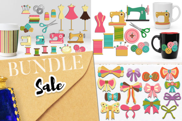 Print on Demand: Sewing Clip Art Bundle Grafik Illustrationen von Revidevi