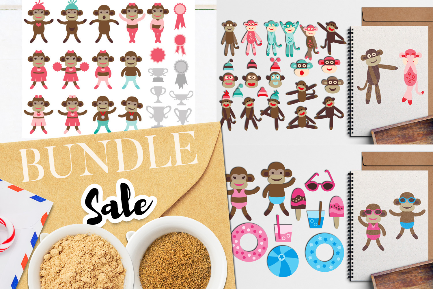 Download Free Sock Monkeys Clip Art Bundle Graphic By Revidevi Creative Fabrica for Cricut Explore, Silhouette and other cutting machines.