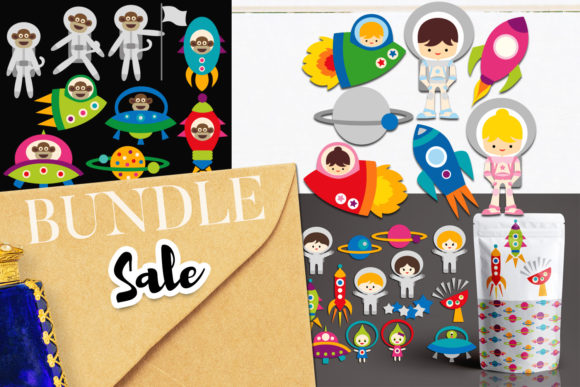 Download Free Space Astronauts Bundle Graphic By Revidevi Creative Fabrica for Cricut Explore, Silhouette and other cutting machines.