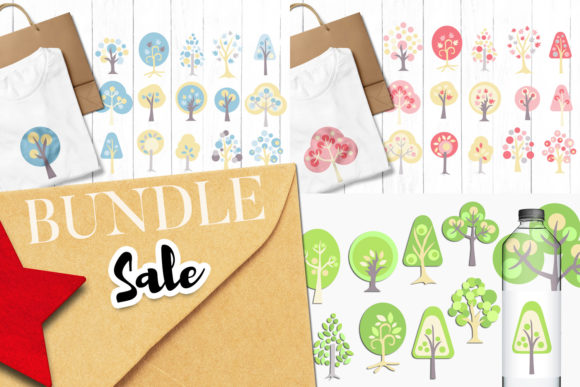 Print on Demand: Tree Clip Art Bundle Graphic Illustrations By Revidevi