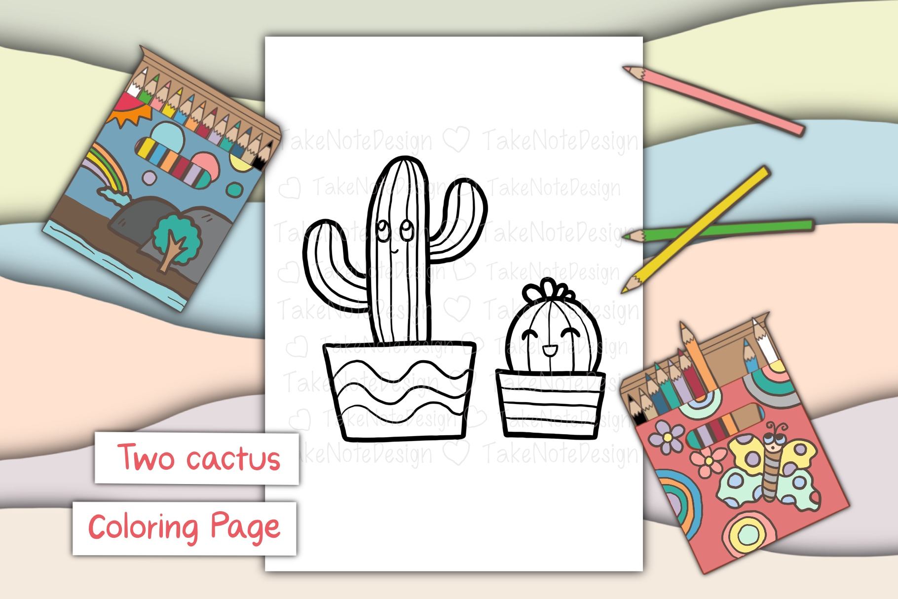 Download Free Two Cactus Graphic By Takenotedesign Creative Fabrica for Cricut Explore, Silhouette and other cutting machines.