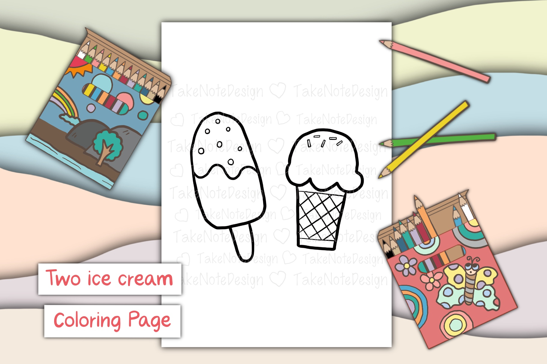 Download Free Two Ice Cream Graphic By Takenotedesign Creative Fabrica for Cricut Explore, Silhouette and other cutting machines.