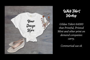 Print on Demand: White Tshirt Mockup Gildan 64000 Shirt Graphic Product Mockups By A Design in Time 1