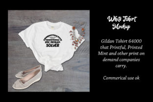 Print on Demand: White Tshirt Mockup Gildan 64000 Shirt Graphic Product Mockups By A Design in Time 2