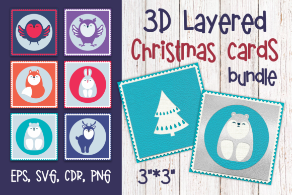 Print on Demand: 3D Layered Christmas Cards Bundle Graphic 3D Flowers By Olga Belova