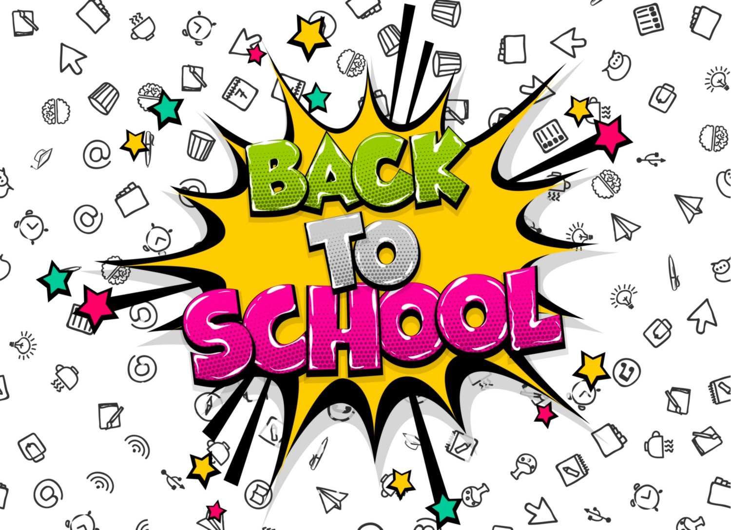 Download Free Back To School Comic Text Pop Art Graphic By Kapitosh Creative for Cricut Explore, Silhouette and other cutting machines.