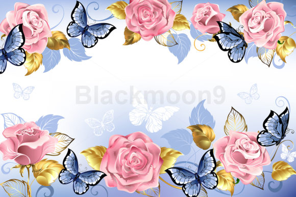 Background with Pink Roses Graphic Illustrations By Blackmoon9