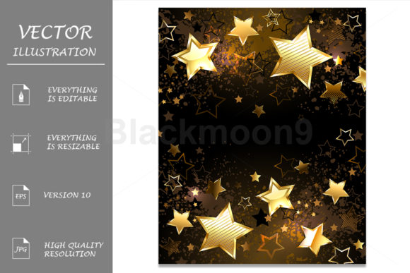 Background with Golden Stars Grafik Hintegründe von Blackmoon9