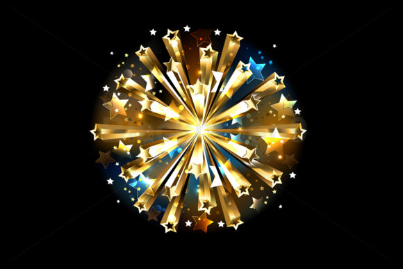 Ball of Gold Stars Graphic Illustrations By Blackmoon9