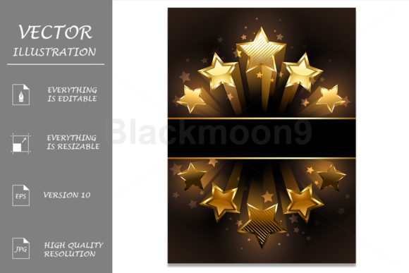 Banner with Five Stars Graphic Illustrations By Blackmoon9