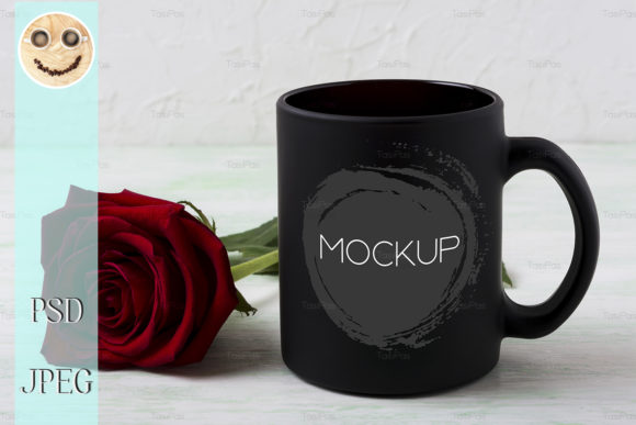 Print on Demand: Black Coffee Mug Mockup with Red Rose Graphic Product Mockups By TasiPas