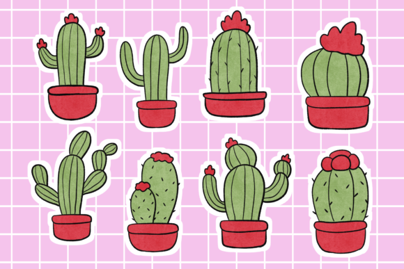 Download Free Cactus Illustration Stickers Graphic By Haifebruary Creative for Cricut Explore, Silhouette and other cutting machines.