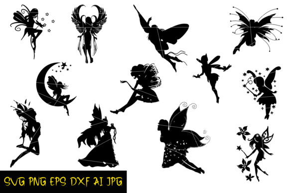 Fairies Silhouettes Graphic By Denysdigitalshop Creative Fabrica