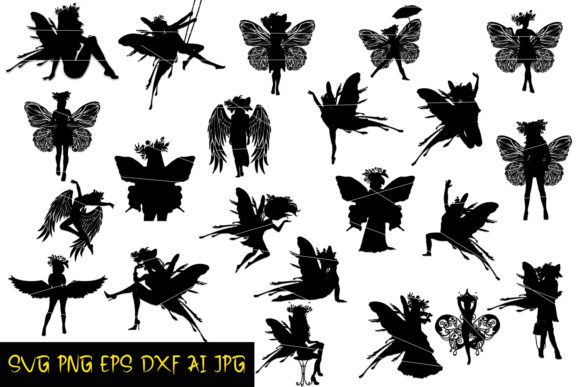 Download Free Fairy Silhouettes Graphic By Denysdigitalshop Creative Fabrica for Cricut Explore, Silhouette and other cutting machines.