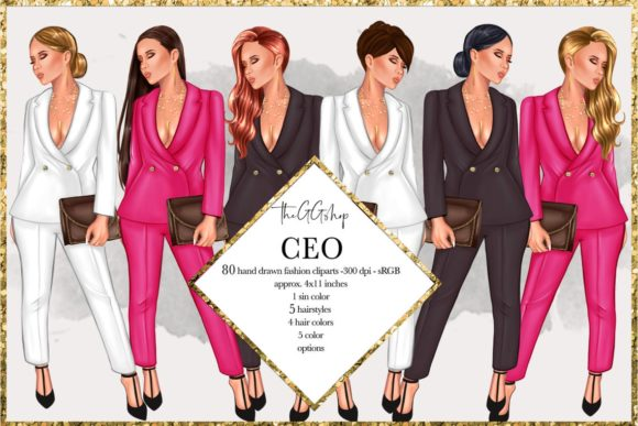 Print on Demand: Fashion Girlboss Clipart Set Grafik Illustrationen von TheGGShop