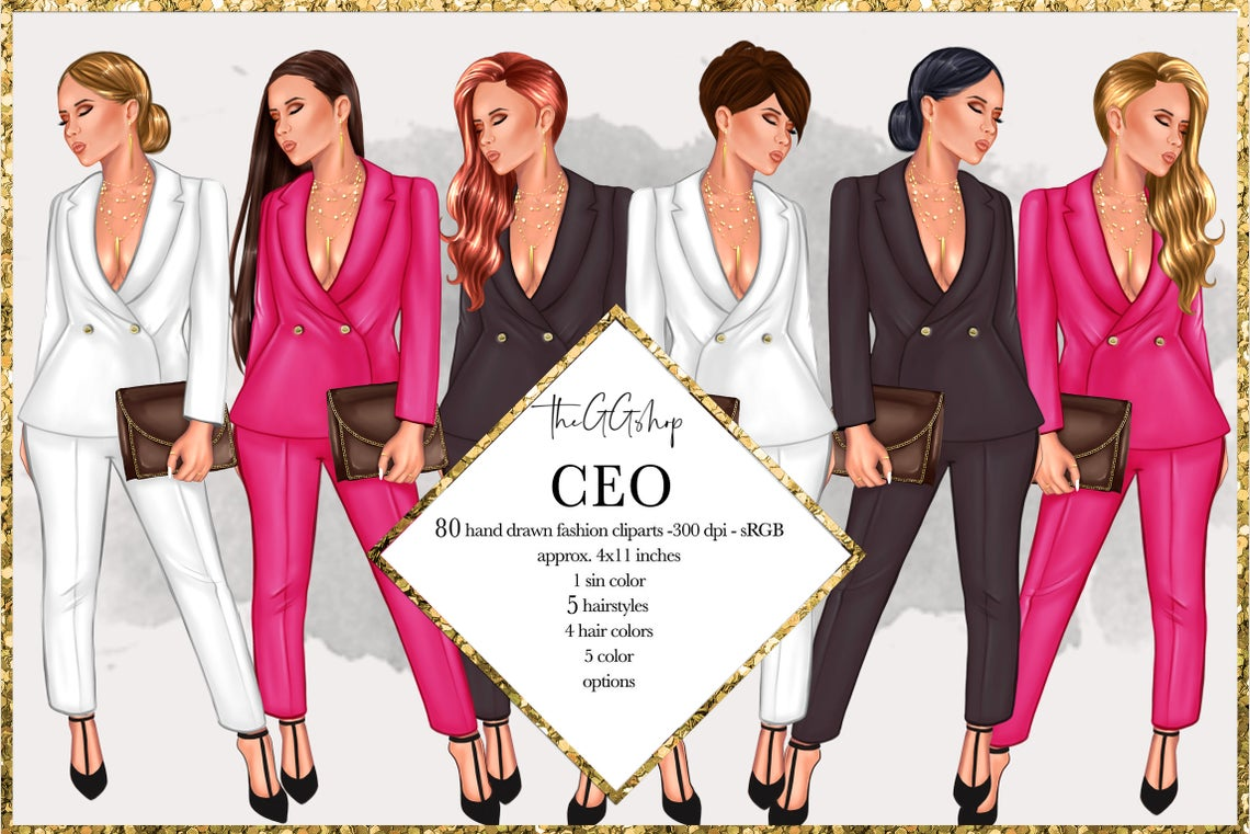 Download Free Fashion Girlboss Clipart Set Graphic By Theggshop Creative Fabrica for Cricut Explore, Silhouette and other cutting machines.