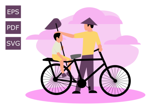 Download Free Flat Illustration Father And Son Graphic By Rohmatsidiq9 for Cricut Explore, Silhouette and other cutting machines.